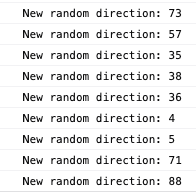 Random directions in the console