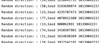 Random directions in the console from a seed