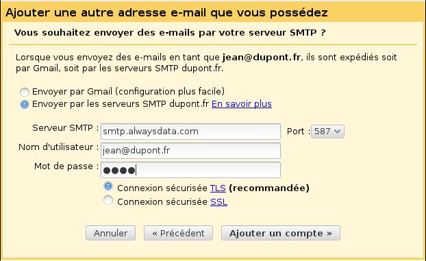 Configuration de Gmail pour l'hébergeur Alwaysdata (2)